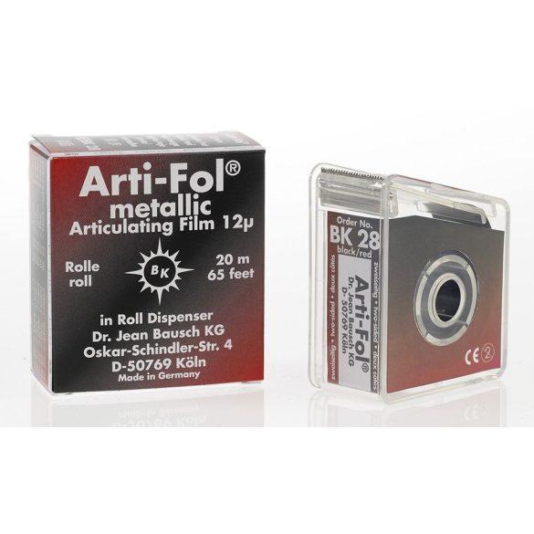 BK 28 art.fémfól+tartó 12mic 2o. fekete/piros,22mmx20m szalag,ARTI-FOL