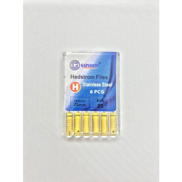 H-File Gapadent 25mm,50,sárga 6db,kézi