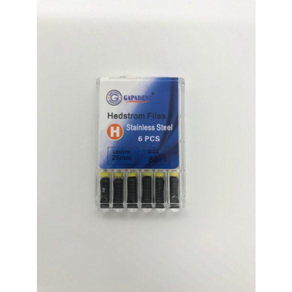 H-File Gapadent 25mm,80,fekete 6db,kézi